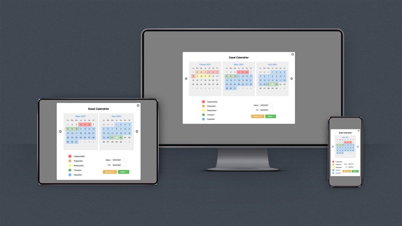 Mockup Composant calendrier sur mesure